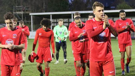 Stowmarket Town players leave the pitch after their 0-0 draw at Brantham. Picture: DAWN MATTHEWS