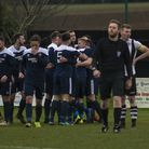 Hadleigh celebrate taking the lead through Kyle Cassell in their 2-0 win over Long Melford. Picture: