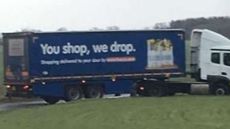 The Tesco lorry became stuck on the B1119 near Saxmundham after trying to do a three-point-turn. Pic