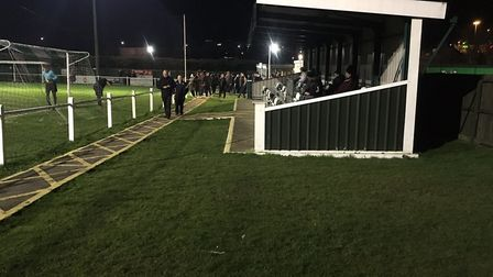 The stand behind one of the goals at Whitton United, during the midweek clash against Godmanchester