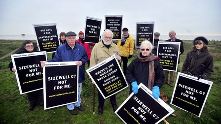 Together Against Sizewell C Campaigners meet on Sizewell Beach Picture: LUCY TAYLOR