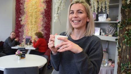 Owner Charlotte Hassan at Lottie's Artisan Waffles and Coffee in Bury St Edmunds. Picture: DENISE BR
