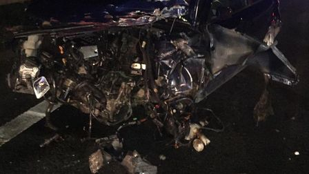 The wreckage of the crash on the A12 at Marks Tey. Picture: ESSEX POLICE