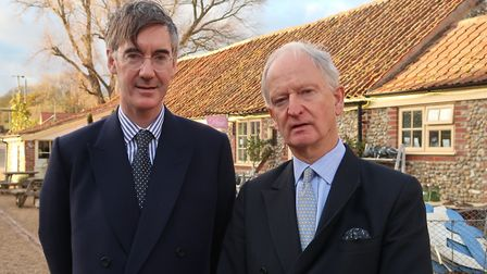 Always-polite Leave supporter Jacob Rees-Mogg with North West Norfolk MP Henry Bellingham. Picture: