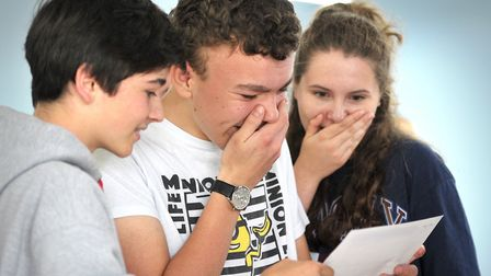 Pupils at Holbrook Academy find out their GCSE results Picture: SARAH LUCY BROWN