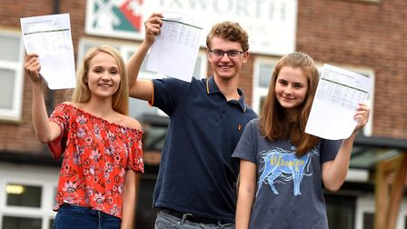 Left to right: Maddie Coombes, Ed Harley and Lizi Bolton celebrate their outstanding GCSE results at