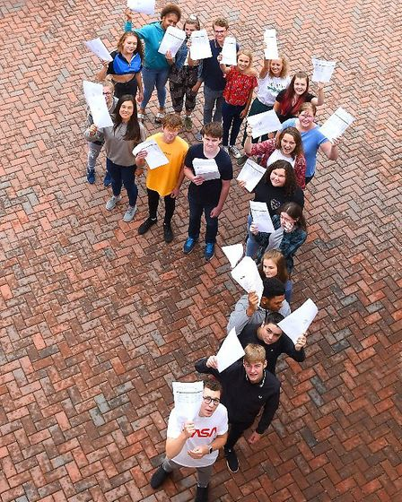 Students at Ixworth Free School celebrate a number of top 9 grades on GCSE results day Picture: GREG