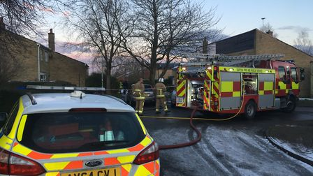 Police and fire crews at the scene of the blaze in Haverhill Picture: ARCHANT