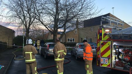 Flames took hold of the first floor in a two-storey house in Lulworth Drive Picture: ARCHANT