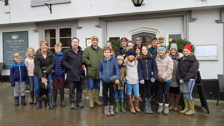 Amelie Bull's friends and family joined her for a fundraising walk in Framlingham Picture: RACHEL ED