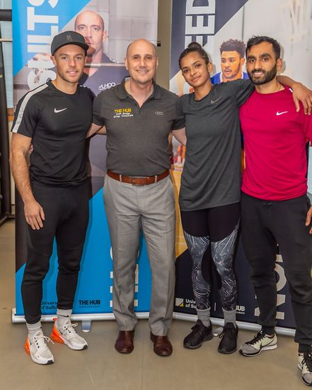 Ramla Ali, with Nino Severino and Ramla's boxing and strength and conditioning coaches. Photo: PAVEL