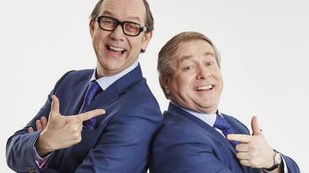 Ian Ashpitel and Jonty Stephens recreating the timeless fun of Morecambe and Wise at the New Wolsey