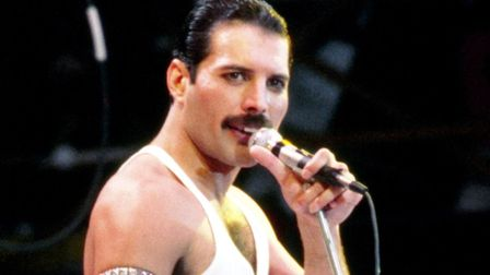Freddie Mercury, lead singer with the rock group Queen pictured at Live Aid. Photo: PA Wire