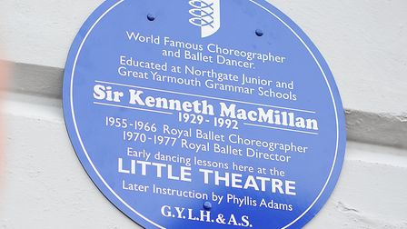 A blue plaque in the town in Great Yarmouth, in memory of Sir Kenneth MacMillan, ballet dancer and c