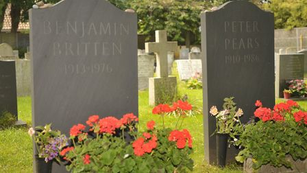 The grave of Benjamin Britten in the graveyard at Aldeburgh Church. Picture: Sarah Lucy Brown