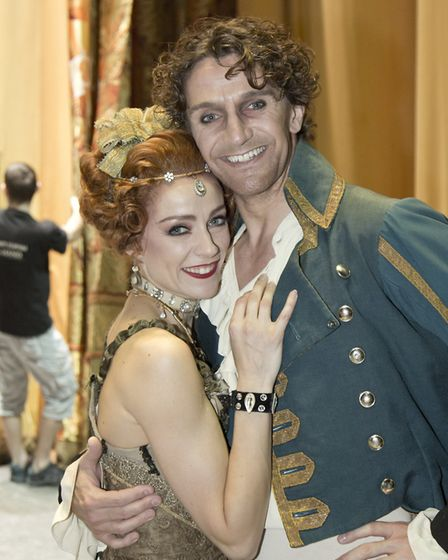 Royal Ballet dancers Gary Avis and Helen Crawford (in Manon) backstage at the Royal.Opera House. Ph