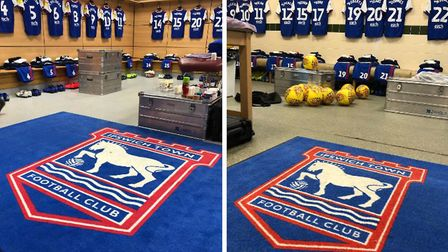 The away dressing rooms at Aston Villa (right) and Middlesbrough (left). Picture: ITFC