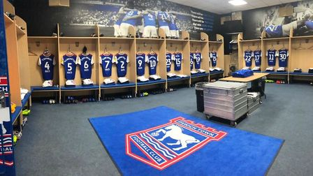 The home dressing room at Portman Road. Picture: ITFC