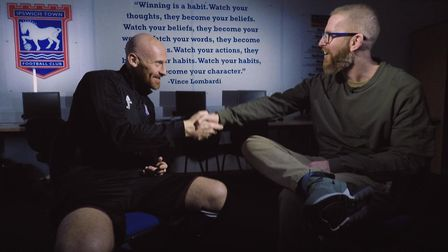 James Collins was interviewed by former Norwich striker Iwan Roberts. Picture: S4C