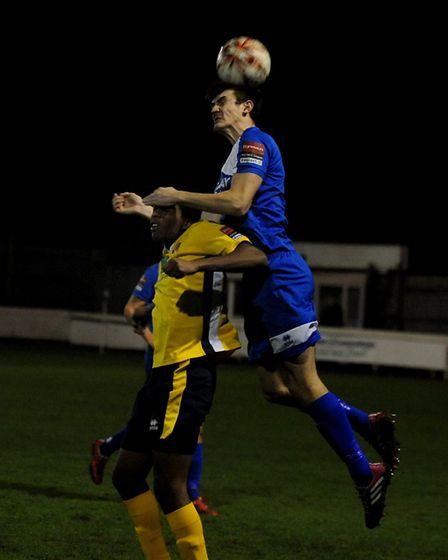 Bury Town centre-half, Kyran Celemts, who netted twice with headers from corners against Witham on T