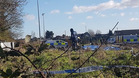 Forensics services offices at the scene of the fire in Victory Road, Leiston Picture: ARCHANT