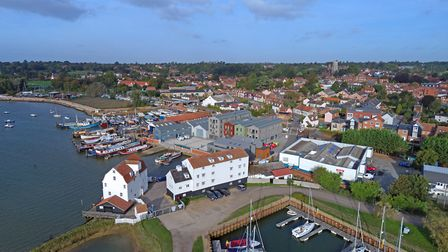 This drone picture of Woodbridge shows the Whisstocks development Picture: DAVID MORTIMER