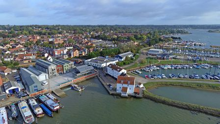 The Tide Mill at Woodbridge can be seen in the centre of this aerial picture Picture: DAVID MORTIMER