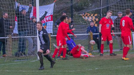 Jake Rudge makes it 1-1 for Woodbridge Town against Stowmarket Town in the dying minutes. Picture: P