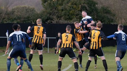 GOAL Kris Rose climbs highest and heads Hadleigh back into the lead Photo: PAUL VOLLER