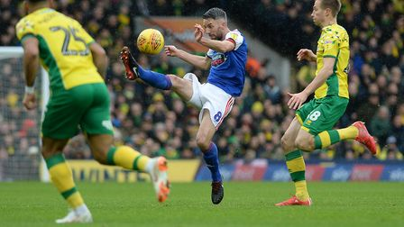 Cole Skuse clears his lines during the East Anglian Derby at Carrow Road Picture Pagepix