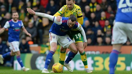Will Keane under pressure at Norwich Picture Pagepix