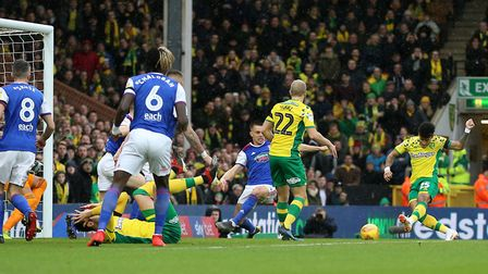 Norwich City's Onel Hernandez (right) gave the Canaries the lead. Picture: PA