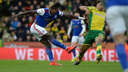 Trevoh Chalobar wastes a first half chance at Carrow Road Picture Pagepix