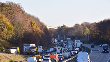 The A14 is delayed westbound near Stowmarket and Stowupland Picture: SARAH LUCY BROWN