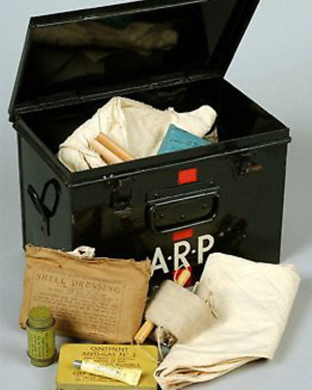 A 1939 ARP (Air Raid Precautions) first aid kit which was identified as a star item by volunteers. P