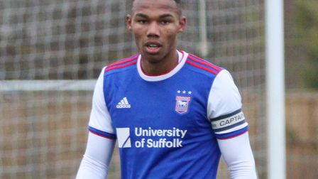 Corrie Ndaba in action for Ipswich Town U23s Picture: ROSS HALLS