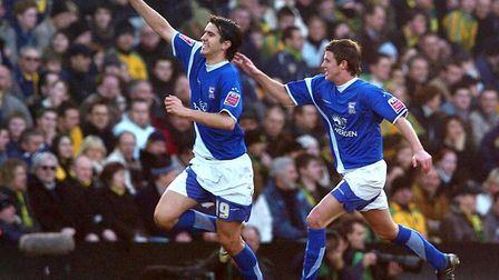 Ipswich Town's Jimmy Juan (L) celebrates his goal against Norwich City in the Blues 2-1 win at Carro