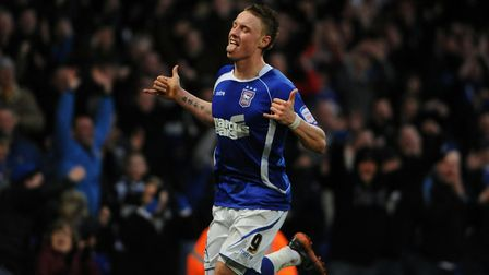 Connor Wickham celebrates getting Ipswich's third goal in their 3-0 win over Sheffield United in 201