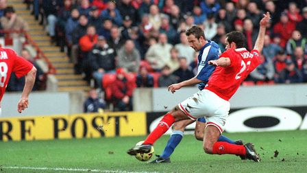 Marcus Stewart scores his first goal for Ipswich on his debut in the 2-0 win at Barnsley in 2000