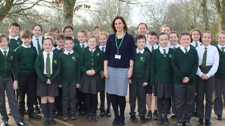 Vicky Doherty, new headteacher at Kedington Primary Academy with pupils Picture: GOODERHAM PR