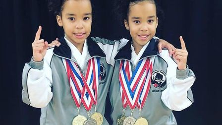 Tahjae and Taia Kersey - Ipswich's two super-talented karate twins. Picture: LEONI KERSEY