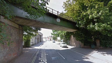 A lorry is unable to get underneath the bridge on Ballingdon Street in Sudbury. Picture: GOOGLE MAPS