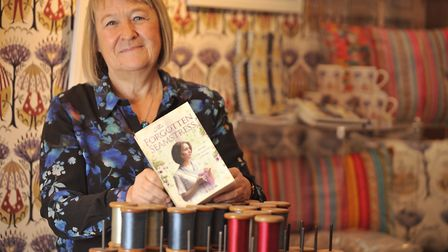 Liz Trenow with one of her earlier novels, The Forgotten Seamstress, which made the top 20 of the Ne