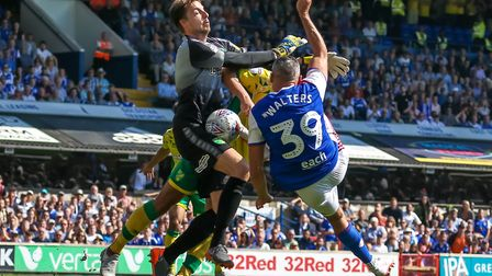 Jon Walters went close for Town in the first derby day match of this season. Picture: STEVE WALLER