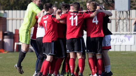 Brightlingsea Regent players celebrate promotion to the Bostik (Isthmian) League Premier Division, i