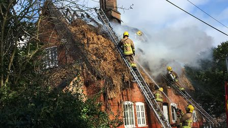 At least eight crews from Suffolk Fire and Rescue Service are currently at the scene Picture: ARCHAN