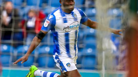 Kane Vincent-Young celebrates after scoring his first-half goal against Cheltenham last weekend. Pi