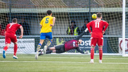 Ex-Scunthorpe and Wycombe striker Paul Hayes (not pictured) puts AFC Sudbury 1-0 up from the penalty
