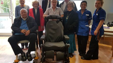 Pictured left to right are: Sylvia Bunt, Bob Bunt (in wheelchair), Joan Gilbertson, Vernon Alber, Gr