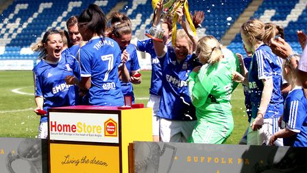 Ipswich Town Ladies celebrate their fourth County Cup win last year Picture: ROSS HALLS